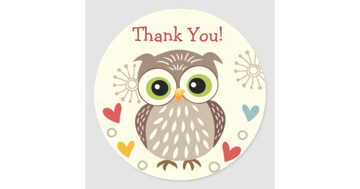 Cute Owl and Hearts Thank you Stickers | Zazzle