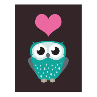Cute Owl and Love Heart Postcards