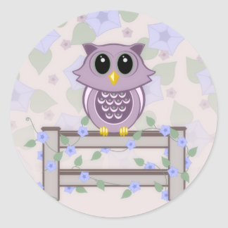 Cute Owl and Morning Glories Stickers