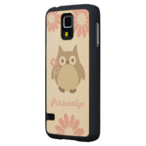 Cute Owl and Pink Flowers Personalized Carved Maple Galaxy S5 Slim Case