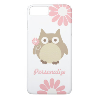 Cute Owl and Pink Flowers Personalized iPhone 7 Plus Case