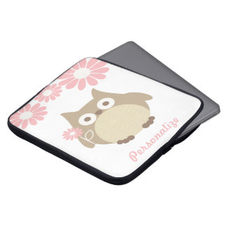 Cute Owl and Pink Flowers Personalized Laptop Computer Sleeves