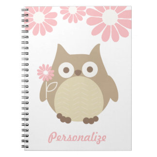 Cute Owl and Pink Flowers Personalized Spiral Notebooks