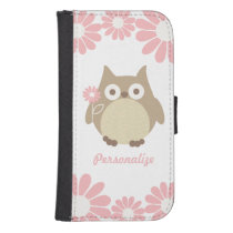 Cute Owl and Pink Flowers Personalized Phone Wallet