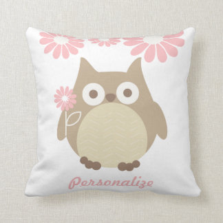 Cute Owl and Pink Flowers Personalized Throw Pillows