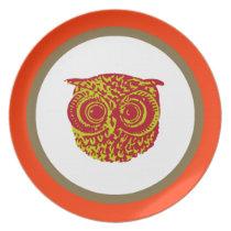 cute owl animal item melamine plate