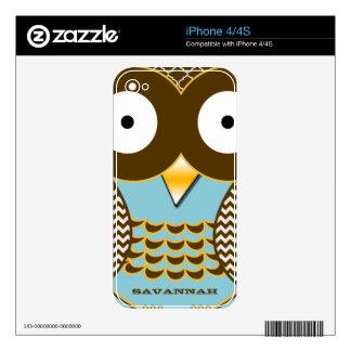 Cute Owl Aqua Brown Personalized iPhone Skin Skin For iPhone 4