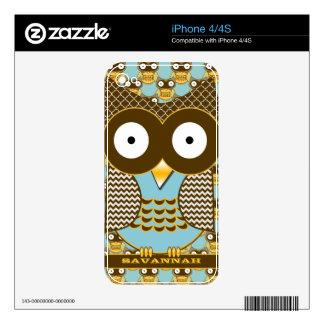 Cute Owl Aqua Brown Personalized iPhone Skin iPhone 4 Decal