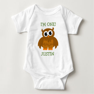 Cute owl baby first Birthday jumpsuit for infant Tshirt
