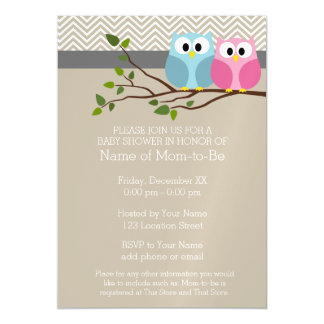 Cute Owl Baby Girl or Boy Gender Reveal Shower Magnetic Card