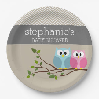 Cute Owl Baby Girl or Boy Gender Reveal Shower Paper Plate