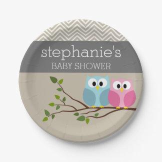 Cute Owl Baby Girl or Boy Gender Reveal Shower Paper Plate