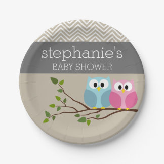 Cute Owl Baby Girl or Boy Gender Reveal Shower 7 Inch Paper Plate