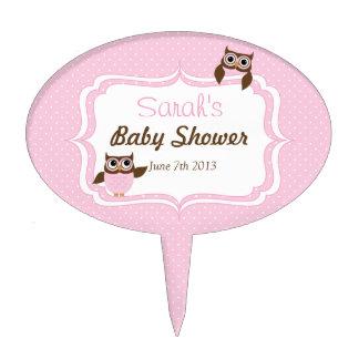 Cute Owl Baby Girl Shower Cake Pick