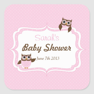 Cute Owl Baby Girl Shower Stickers