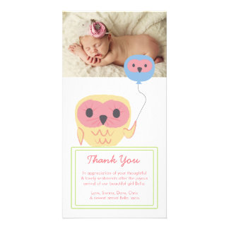 Cute Owl Baby Girl Thank You Photo Template