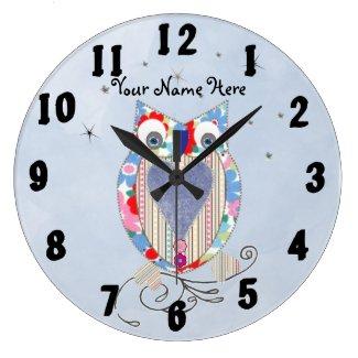 Cute Owl Baby Nursery Decor Wall Clock Personalise