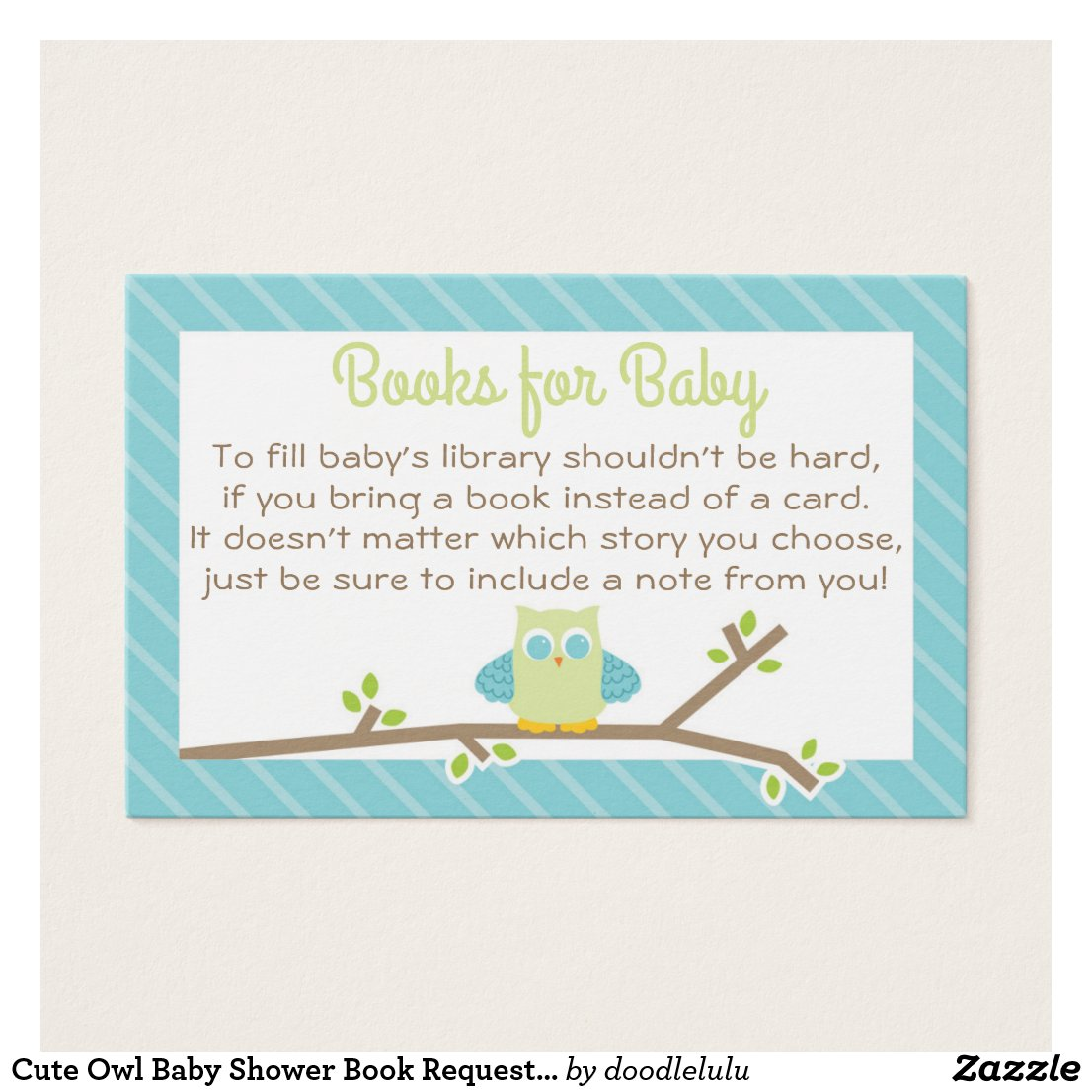 Cute Owl Baby Shower Book Request Card blue green