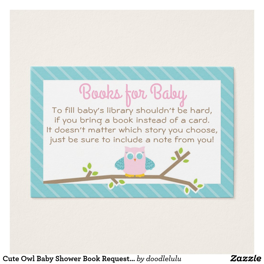 Cute Owl Baby Shower Book Request Card pink & blue