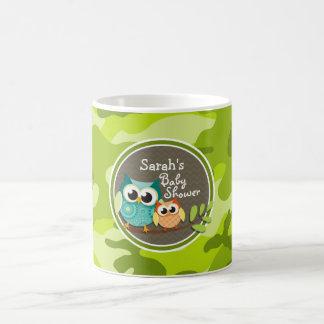 Cute Owl Baby Shower green camo Mugs