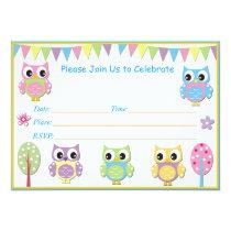 Cute Owl  Baby Shower Invitation Pink & Purple