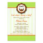 Cute Owl Baby Shower Invite [Green]