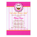 Cute Owl Baby Shower Invite [Pink]