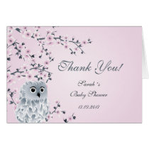 Cute Owl Baby Shower Thank You Card