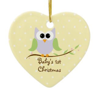 Cute Owl Baby's 1st Christmas Pastels Ornament