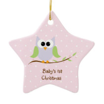 Cute Owl Baby's First Christmas Ornament