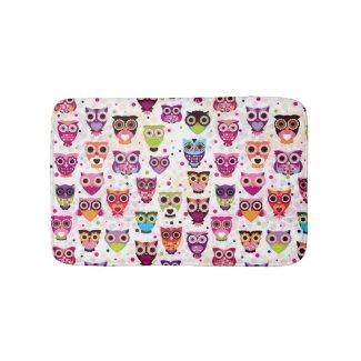 Cute owl background pattern for kids bath mats