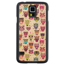 Cute owl background pattern for kids carved maple galaxy s5 slim case