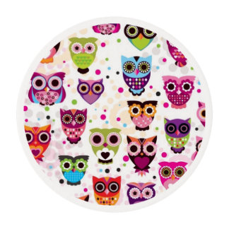 Cute owl background pattern for kids edible frosting rounds