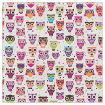 Cute owl background pattern for kids fabric