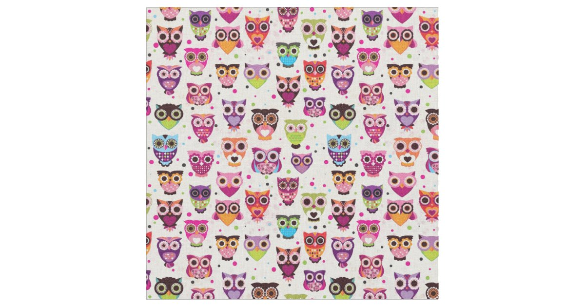 Cute owl background pattern for kids fabric zazzle for Cute childrens fabric