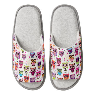 Cute owl background pattern for kids pair of open toe slippers