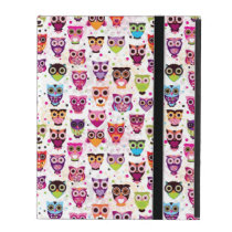 Cute owl background pattern for kids iPad folio cases