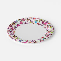 Cute owl background pattern for kids paper plate