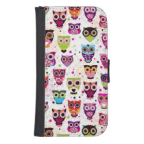 Cute owl background pattern for kids phone wallet
