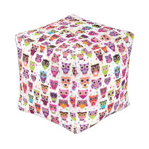 Cute owl background pattern for kids pouf