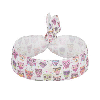 Cute owl background pattern for kids ribbon hair tie