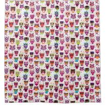 Cute owl background pattern for kids shower curtain