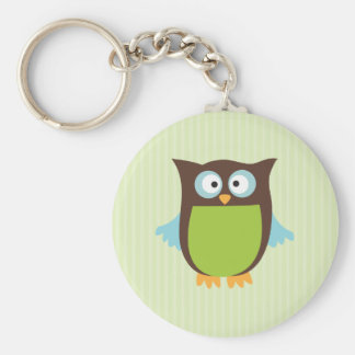 Cute Owl Basic Round Button Keychain