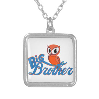 Cute Owl Big Brother Square Pendant Necklace