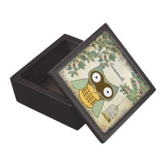 Cute Owl Bird Cage and Trees Wood Keepsake Box Premium Keepsake Box