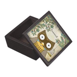 Cute Owl Bird Cage and Trees Wood Keepsake Box Premium Trinket Box