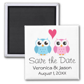 Cute owl bird couple with heart save the date 2 inch square magnet