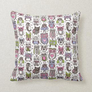 Cute owl bird doodle retro pattern throw pillow