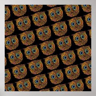 cute owl bird faces poster