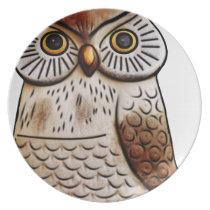 cute owl bird owl,cute,bird,fly,funny,animal,decor dinner plate